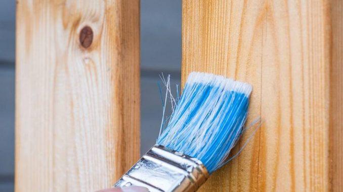 Pinceau à poils bleus sur du bois